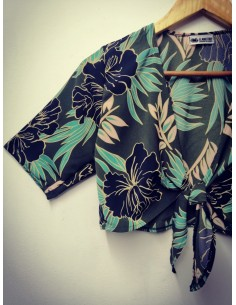Top Kimono Flores Verdes